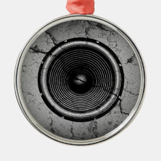 Music speaker on a cracked wall christmas ornament