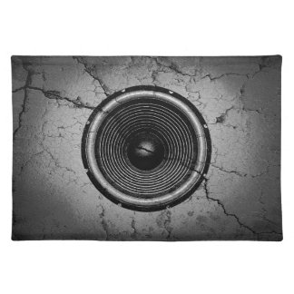 Music speaker on a cracked wall placemat