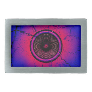 Music speaker on a cracked wall rectangular belt buckles