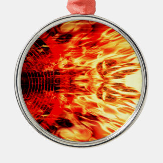 Music speaker with flames christmas ornament