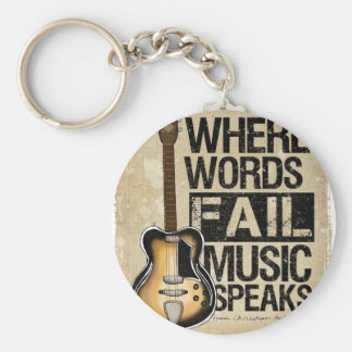 music speaks basic round button key ring