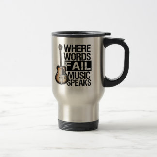 Music Speaks | Choose your background color Stainless Steel Travel Mug