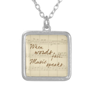 Music Speaks Square Pendant Necklace