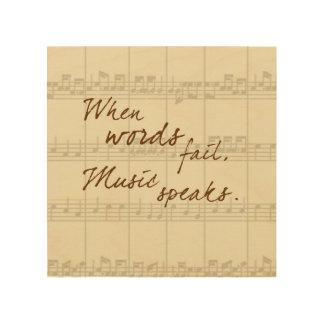 Music Speaks Wood Print