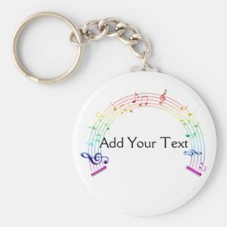 Music Staff Semi-Circle Rainbow on White Basic Round Button Key Ring