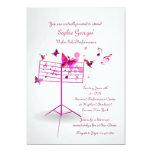 Music Stand Pink Invitation 13 Cm X 18 Cm Invitation Card