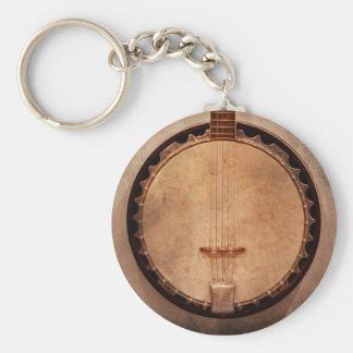 Music - String - Banjo Basic Round Button Key Ring