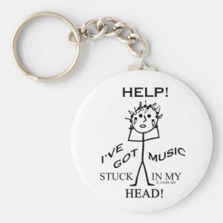 Music Stuck in My Head Basic Round Button Key Ring