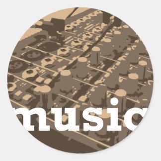 Music Studio Mixer Round Sticker