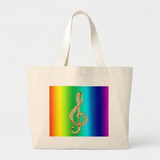 Music Symbol Staff G-Clef Jumbo Tote Bag