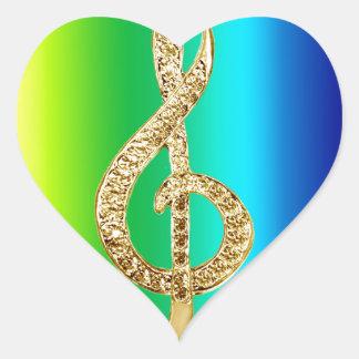 Music Symbol Staff G-Clef Heart Stickers