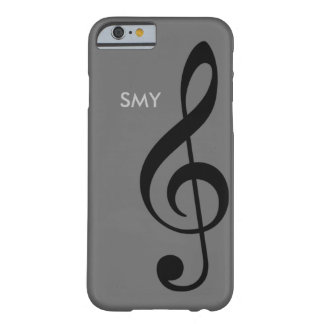 music symbol (treble clef) with custom initials barely there iPhone 6 case