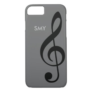 music symbol (treble clef) with custom initials iPhone 8/7 case