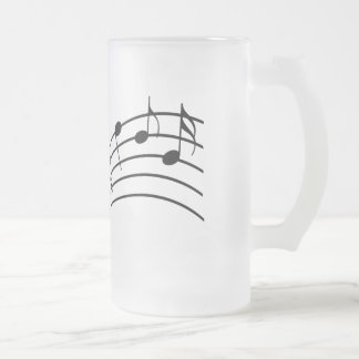 Music Symbols Wavy Staffs Musician's Frosted Glass Frosted Glass Mug