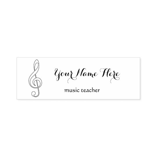 music teacher black and white treble clef self-inking