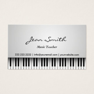 Music Teacher Classy White Piano Musical Business Card