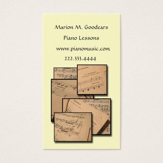 Music Teacher Custom Colour Business Card