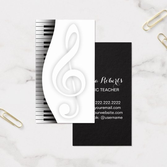 Music Teacher Elegant Piano Keys Musical Business Card