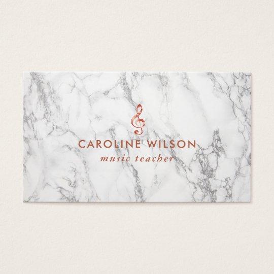 music teacher elegant rose gold clef on marble