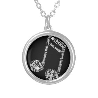 music teacher gift musical note typography wordart round pendant necklace