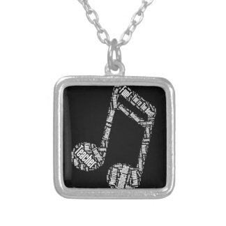 music teacher gift musical note typography wordart square pendant necklace