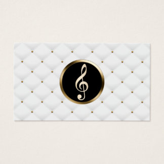 Music Teacher Gold Clef Logo Luxury Quilts Business Card