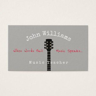 music teacher gray business card + guitar neck