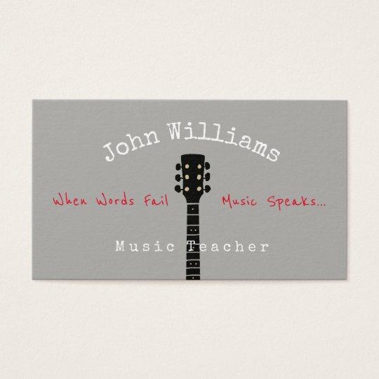 music teacher grey business card + guitar neck