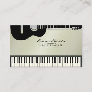 Musician business cards zazzle uk music teacher guitar piano keyboard musician business card colourmoves