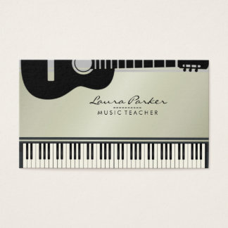 Music Teacher Guitar Piano Keyboard Musician Business Card