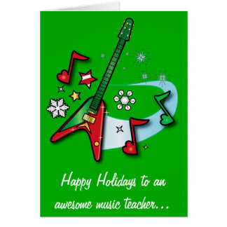 Music Teacher Holiday with Red and Green Guitar Card