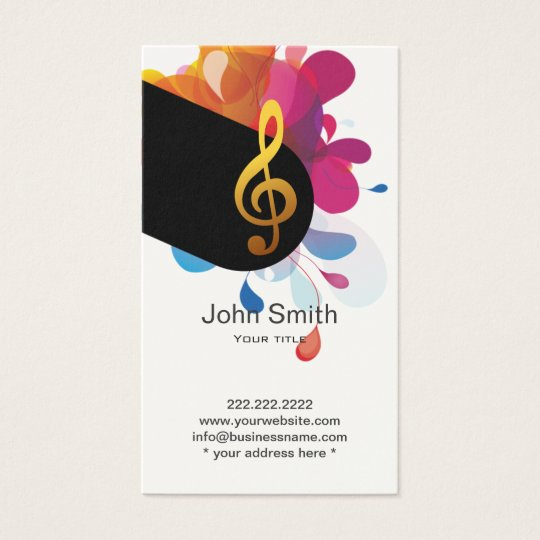 Music Teacher Modern Treble Clef Elegant Business Card
