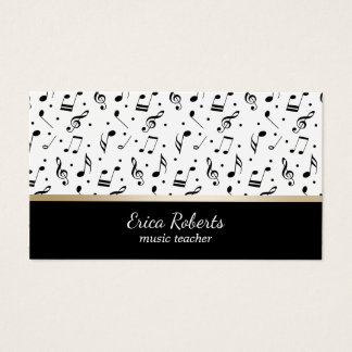 Music Teacher Musical Pattern Elegant Business Card