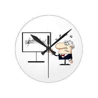 music teacher older man graphic round clock