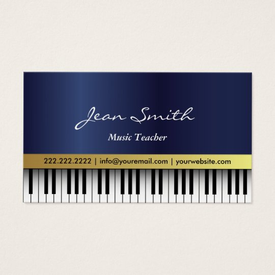 Music Teacher Royal Blue Piano Keys Elegant Business Card