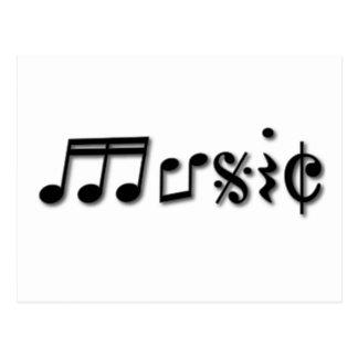 Music Text Design Postcard