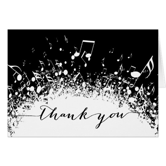 music thank you black and white explosion card