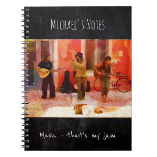 Music That's my Jam - Painting of Street Musicians Spiral Notebooks