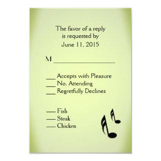 Music Theme Green Wedding Menu Choice 9 Cm X 13 Cm Invitation Card