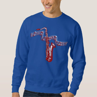 Music theme Red Saxophone and notes -Sweatshirt Sweatshirt