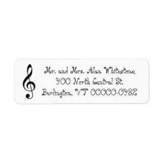 Music Themed Black and White Return Address Labels