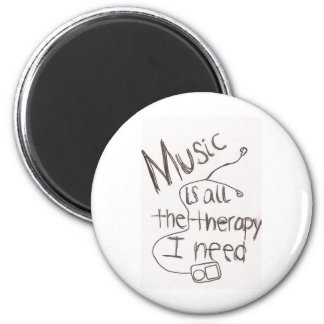 music therapy white magnet