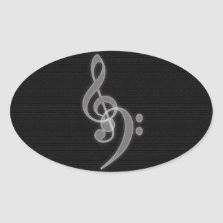 Music - Treble and Bass Clef Oval Stickers
