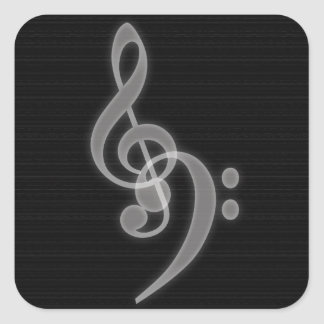 Music - Treble and Bass Clef Square Stickers