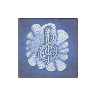 Music Treble Clef Decorative and Personalizable Stone Magnet