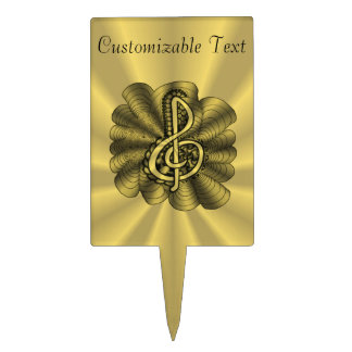 Music Treble Clef Gold Personalized Cake Pick