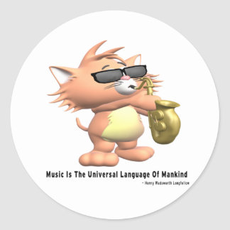 Music-Universal-Language Round Sticker