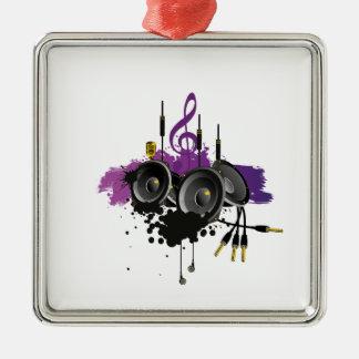 Music Vector Design Silver-Colored Square Decoration