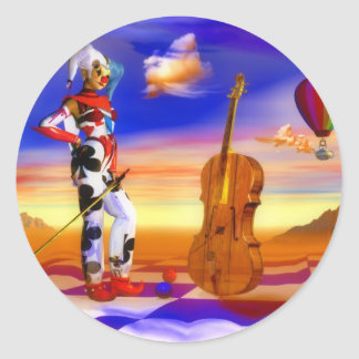 Music violins surreal note art by Lenny Round Sticker