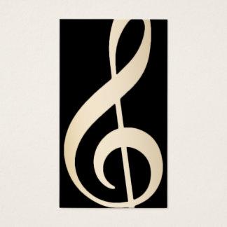 Music Vocal Teacher Modern Black & Gold Musical Business Card